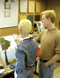 Painting a landscape mural class